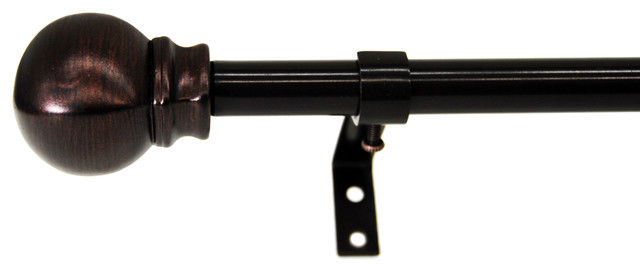 Ornament Bay Window Double Curtain Rod, Cocoa