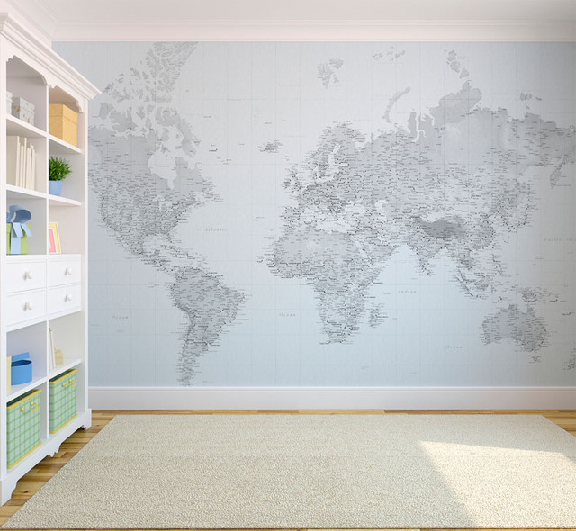 Black and white world map wallpaper eclectic wallpaper for Black and white world map wall mural
