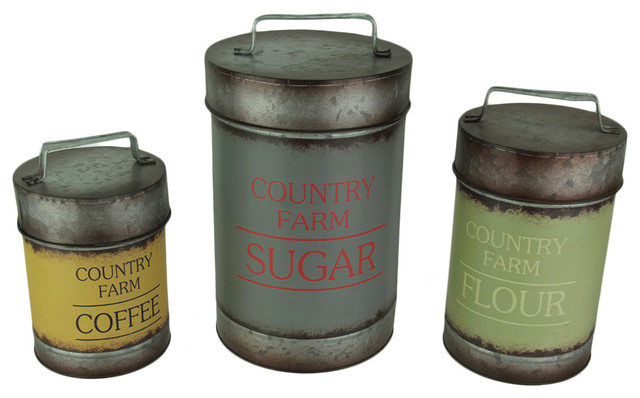 Set Of 3 Galvanized Finish Metal Kitchen Canisters Farmhouse And Jars By Zeckos