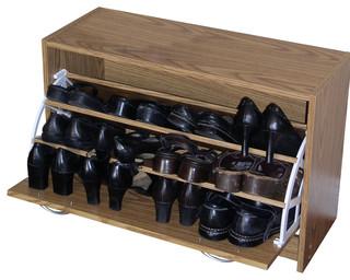 4D Concepts   Deluxe Single Shoe Cabinet, Oak   Shoe Storage