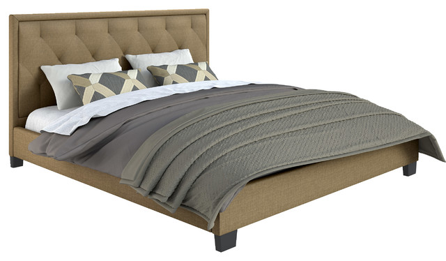 CorLiving Fairfield Diamond Tufted Upholstered Bed, Latte, King