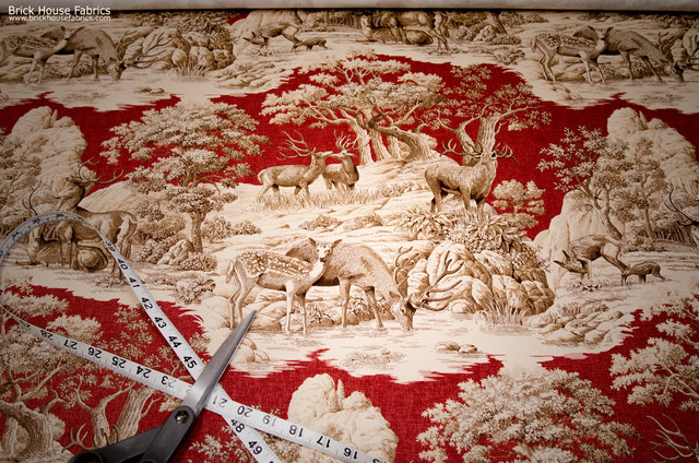 Deer fabric red toile woods nature woodland lodge