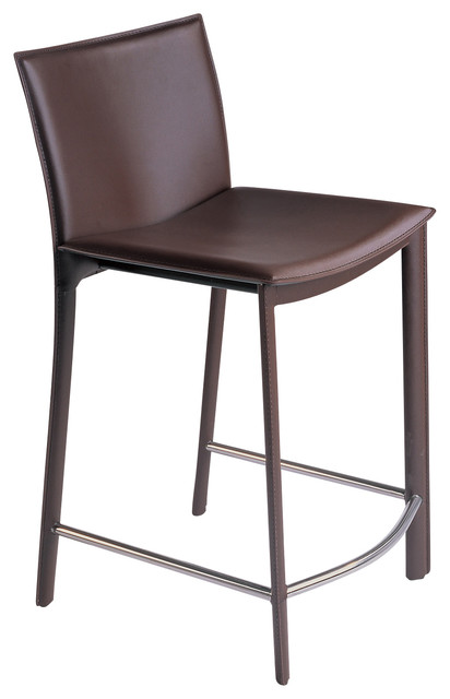 "Moe&x27;s Home Panca 26"" Counter Stools, Dark Brown Leather, Set Of 2."