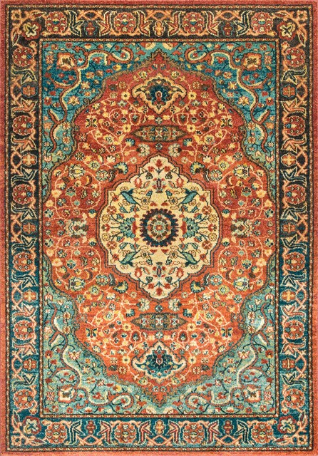Traditional Floral Medallion Area Rug Rust Traditional