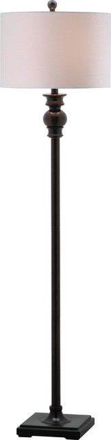Alphie Floor Lamp, White Shade, Ebony Base.
