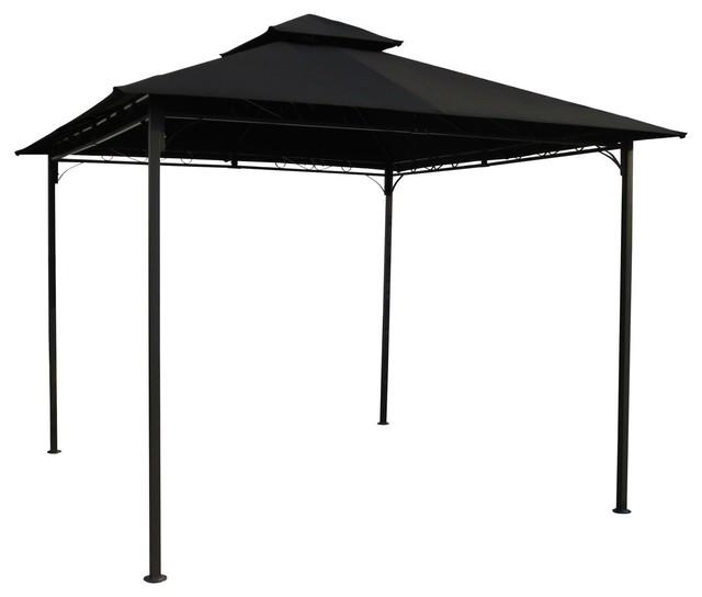 Outdoor Gazebo With Black Weather Resistant Fabric Canopy, 10&x27;x10&x27;.