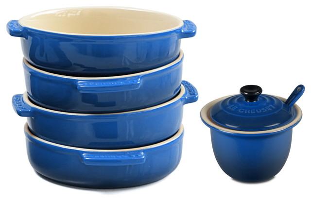 Le Creuset Stoneware 4-Piece Tapas Dish Set With Condiment Pot, Marseille Blue.