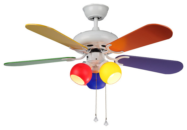 Modern Multi Color Ceiling Fan 3 Colorful Lights