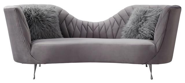 Eva Velvet Sofa, Gray
