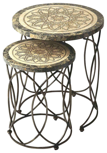 Butler Kinich Fossil Stone Nesting Tables