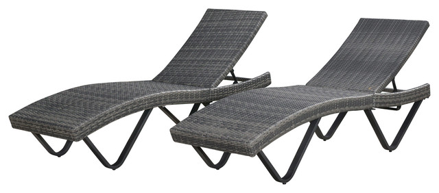 Perfect Zanna Outdoor Lounge Chairs, Set Of 2 Contemporary Outdoor Chaise Lounges