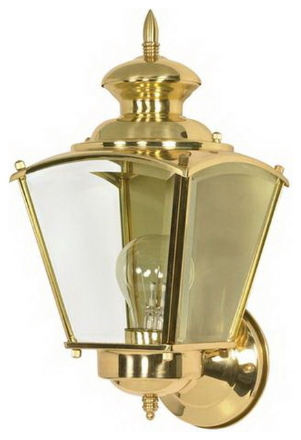 Polished Brass and Clear Beveled Glass Exterior Wall Light ... on Exterior Wall Sconce Light Fixtures id=22490