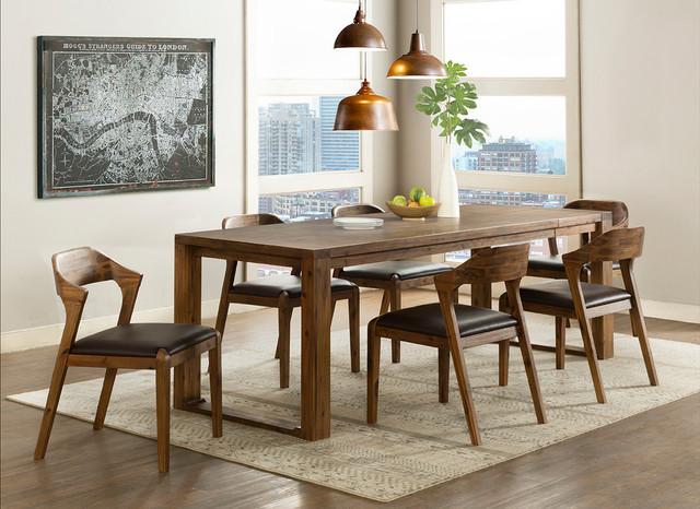 Rasmus 7 Piece Dining Set Chestnut Wire Brush Midcentury Dining Sets By Boraam Industries Inc