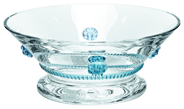 Theresienthal Bacchus Clear Blue Crystal Roses Dessert Bowl
