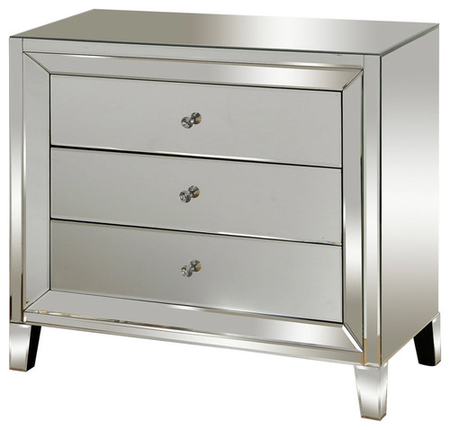 3-Drawer Mirrored Chest, Silver