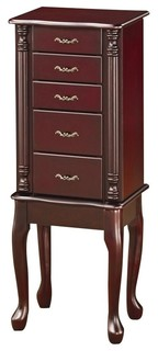 Cherry Finish Queen Anne Style Jewelry Storage Armoire By Coaster 900144