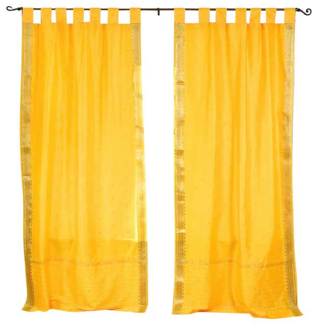 Yellow Tab Top Sheer Sari Curtain Panels Set Of 2 60x108 No Liner