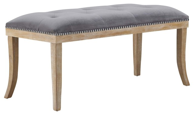Expression Upholstered Fabric Bench, Gray.
