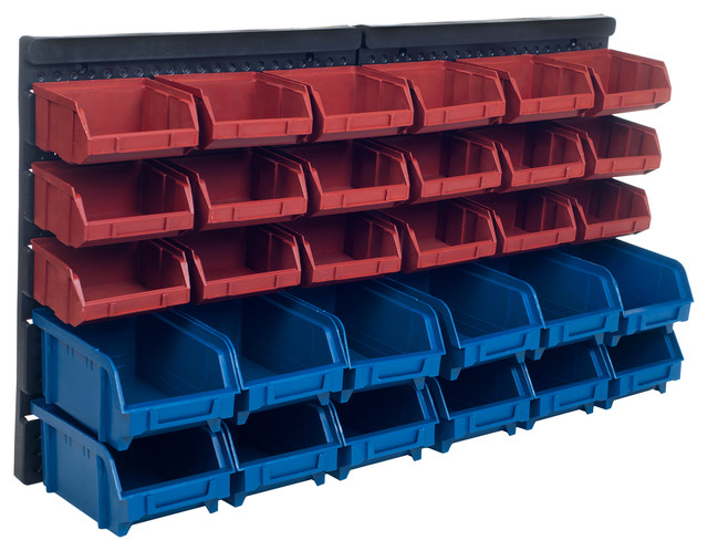 30 Bin Wall Mounted Parts Rack By Stalwart Traditional Garage And Tool