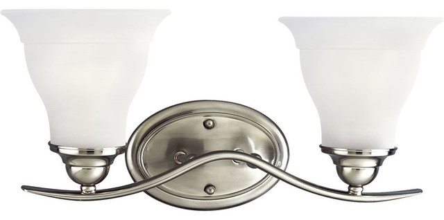 Brushed Nickel 4 Light Bathroom Vanity Wall Lighting Bath: Trinity 2-Light, Fluorescent Bath Light With Bulb, Brushed