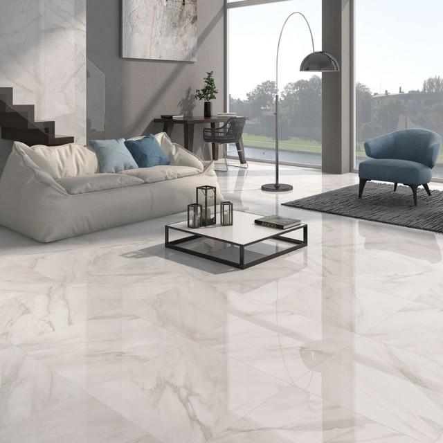 Calacatta white gloss floor tiles grey design direct for Warehouse living space