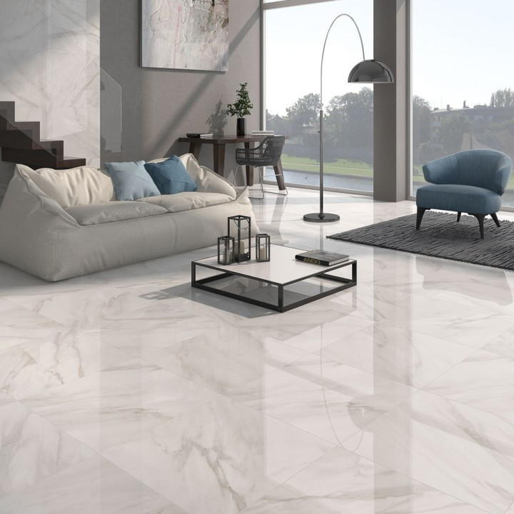 Calacatta White Gloss Floor Tiles Grey Design Direct Tile Warehouse Living Room Other By Direct Tile Warehouse
