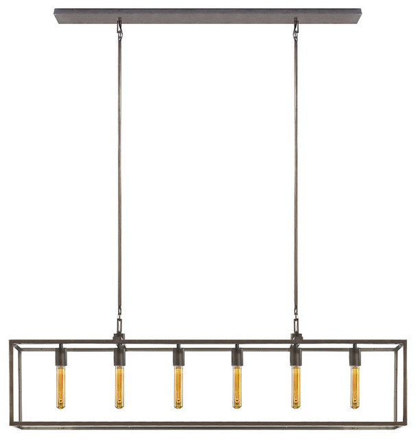 Studio Belden 6-Light Linear Pendant, Aged Iron/wax.