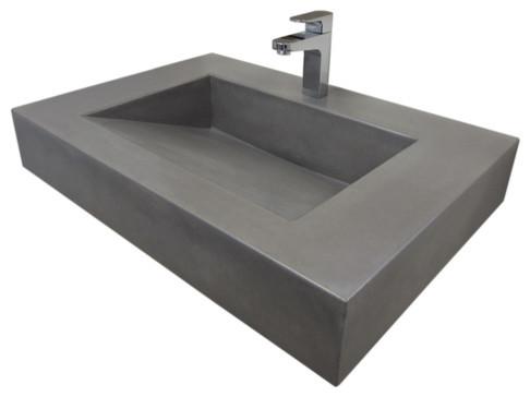 30 ADA Floating Concrete Sink Modern Bathroom Sinks by