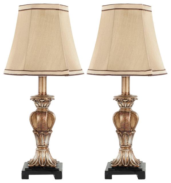 Gabriella Mini Urn Lamp, Set Of 2, Gold, Beige Shade.