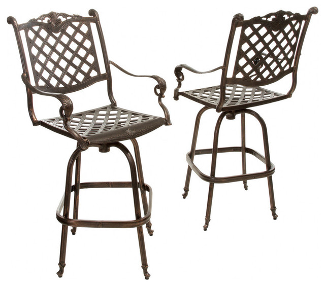 Miraculous Gdf Studio Pomelo Outdoor Cast Aluminum Bar Stools Set Of 2 Squirreltailoven Fun Painted Chair Ideas Images Squirreltailovenorg