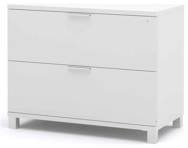 Bestar Pro-Linea 2 Dawer Lateral File Cabinet In White - Assembled.