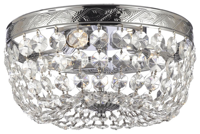 French Empire Crystal Flush Chandelier.