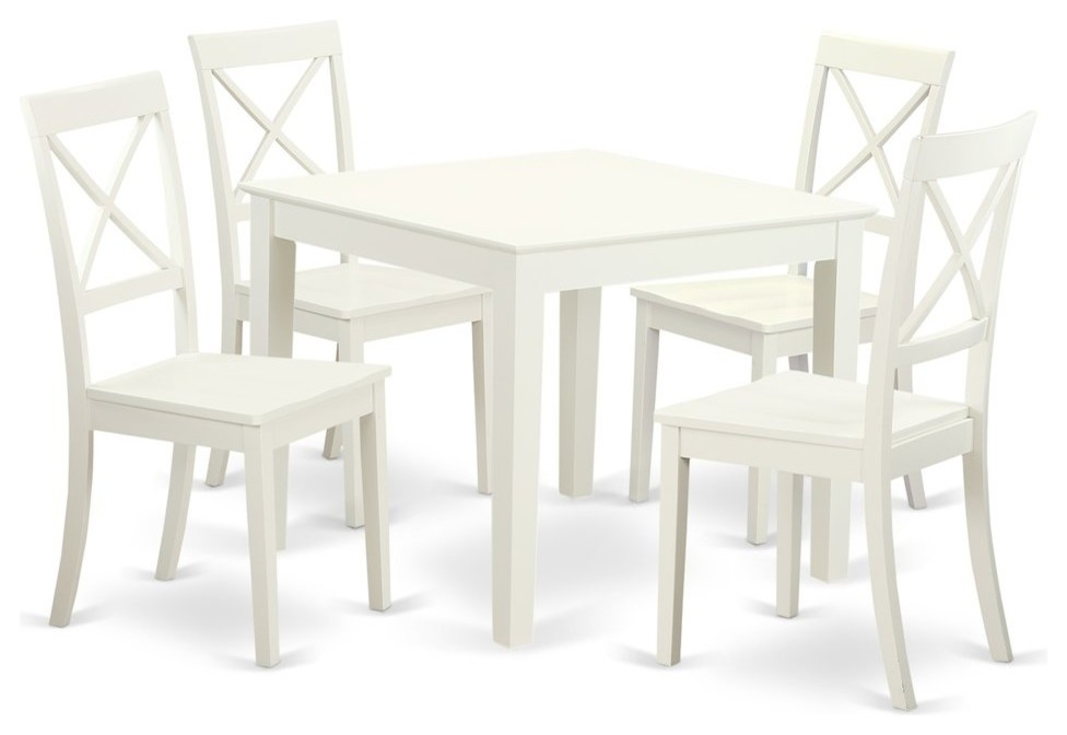 5 Piece Small Kitchen Table Set And 4 Hard Wood Dining Chairs Linen White Transitional Dining Sets By Bisonoffice