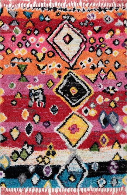 "Nuloom Contemporary Modern Moroccan Shag Tassel Area Rug, Multi, 5'3""x7'6"""