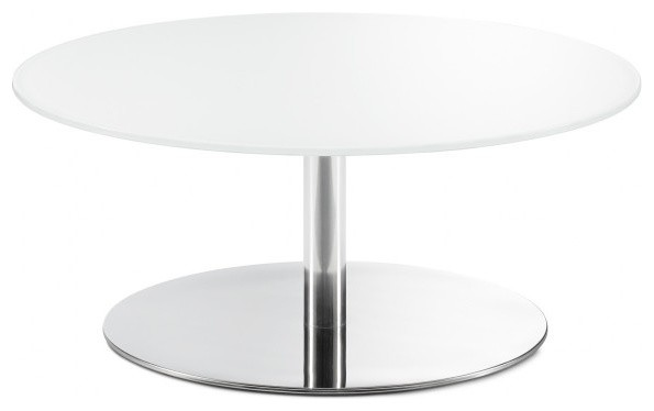 Plane Coffee Table White Back Painted Glass And Chrome Disc Base Modern  Coffee Tables