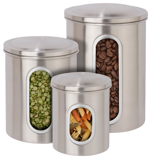 contemporary kitchen canisters 3 piece metal storage canister set stainless steel finish contemporary kitchen canisters 8222
