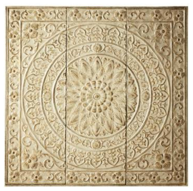 amaryllis metal wall decor distressed cream