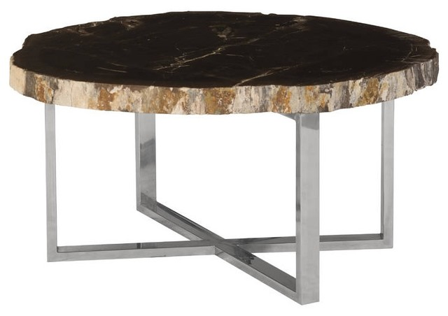 Stone Base Coffee Table.33 Wide Coffee Table Petrified Wood Stone Base Stainless Steel Brown