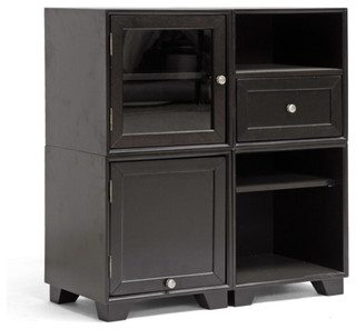 Baxton Studio Alaska Dark Brown Modular Storage Cabinet - Transitional - Accent Chests And ...