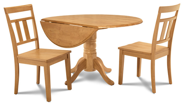 M d furniture burlington 3 piece round dining room set for Traditional round dining table sets
