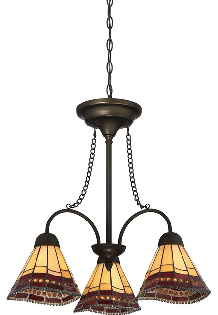 Quoizel Lighting Tiffany Style 3 Light Bronze Chandelier Tfx3171c