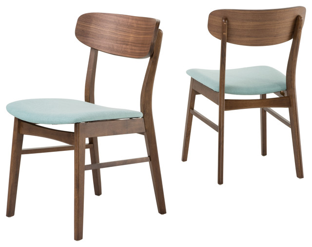 Augusta Mint Fabric And Walnut Finish Dining Chairs Set Of 2