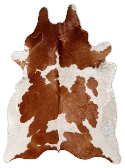 Cowhide Leather Rug With Spots White And Brown 5 X7 Area
