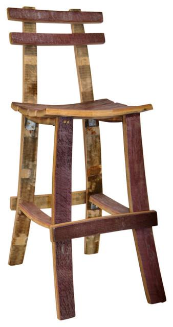 Wine Barrel Bar Stool W Back Rustic Bar Stools And