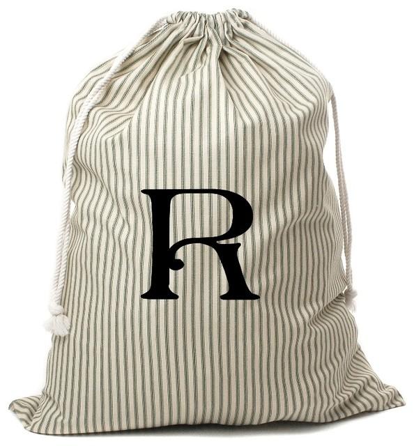 Personalized Drawstring Bag, Green Striped, R.
