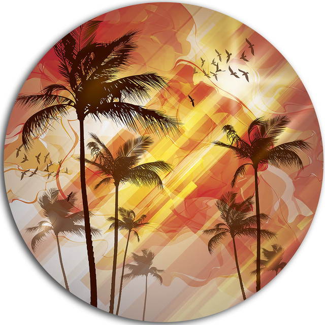 Palm Tree Metal Wall Art palm tree at sunset, photography disc metal artwork - tropical