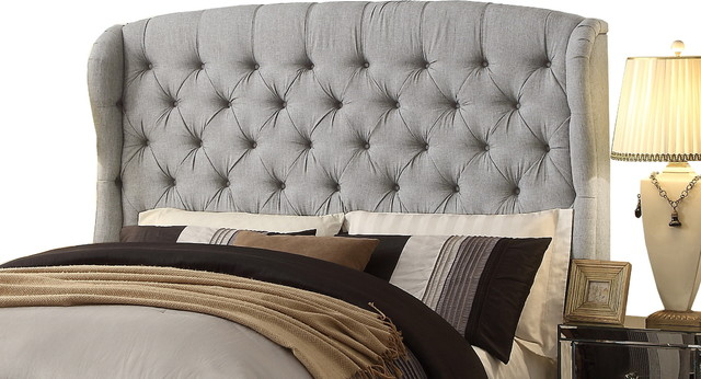 Feliciti Gray Tufted With Wings Queen Upholstery Headboard Headboards