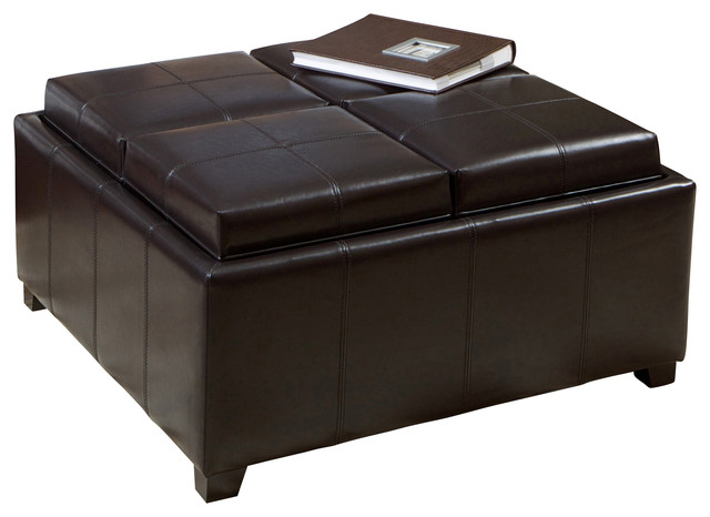 Harley Leather Espresso Tray Top Storage Ottoman Contemporary