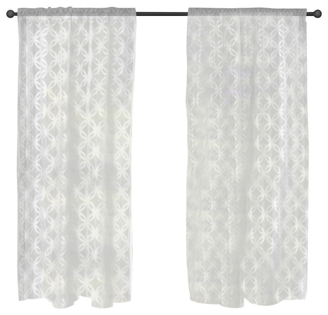 Lace Window Curtain, Lattice White.