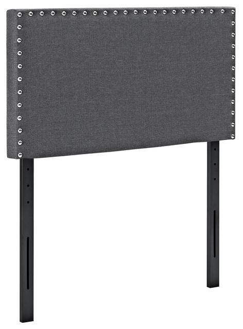 Phoebe Twin Upholstered Fabric Headboard, Gray.
